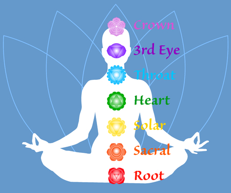 The seven chakra names map. Famale body in lotus yoga asana on blue petals background. Root, Sacral, Solar, Heart, Throat, 3rd Eye, Crown chakras. Drawing Vector illustration eps10