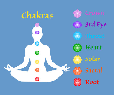Famale body in lotus yoga asana with seven chakras on blue background. Root, Sacral, Solar, Heart, Throat, 3rd Eye, Crown chakras. Chakras names map. Drawing Vector illustration eps10