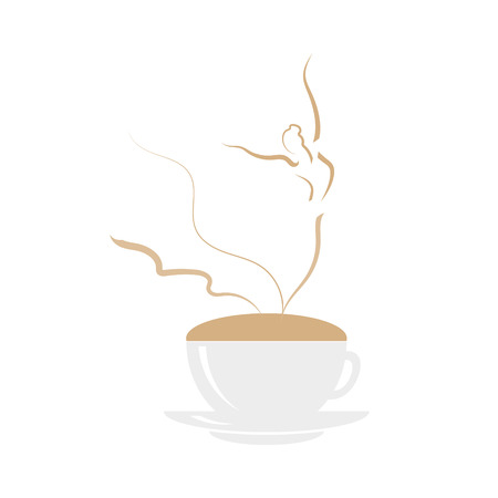 Ballerina dancing on cappuccino foam. Coffee cup with dancing wonan dancer on white background. Vector illustration logo