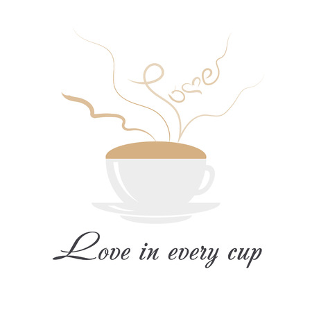 Coffee cup with steaming word love, heart and text love in every cup on white background. Love and coffee concept