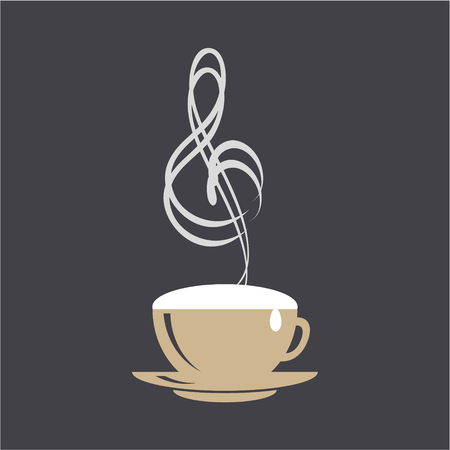 Coffee and music logo concept. Cappuccino cup and treble clef on black background