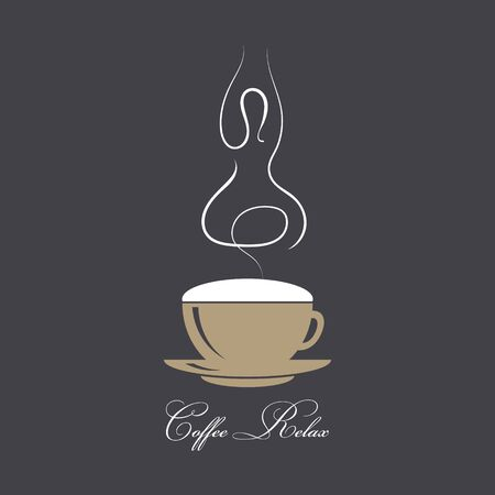 Steaming coffee with silhouette of a yogi in a lotus assana. The concept of coffee and relaxation. Coffee time, break. Vector illustration in coffee style colors on black background