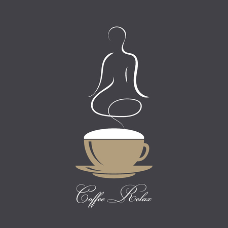 Steaming coffee with silhouette of a body in yoga lotus assana. Concept coffee and relaxation. Coffee time, break, rest. Vector image in coffee style on dark background