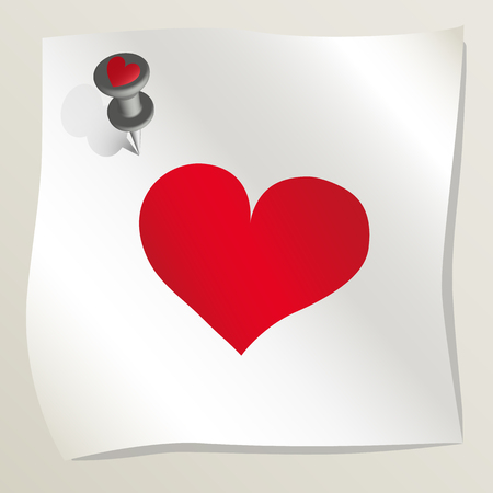 White sticky note with red heart image attached to a wall by a drawing pin. Sheet of paper with red heart. Happy Valentine's day. Concept of love and romance. Vector illustration EPS10.