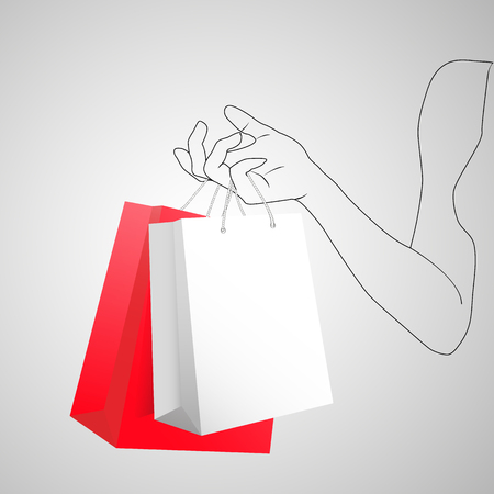 Female hand holding two colorful shopping bags. Two gift packages red and white painted hand of young woman. 3D Vector illustration. Иллюстрация
