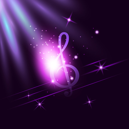 Radiant neon music Treble Clef on dark ultraviolet illuminated background. Disco, jazz, pop, concert, club, song, rhythm