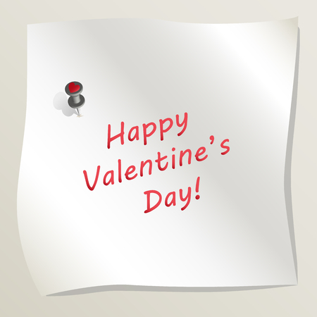White sticky note attached to a wall by a drawing pin with heart image. Sheet of paper with text Happy Valentine's day. Concept of love and romance. Vector illustration EPS 10.