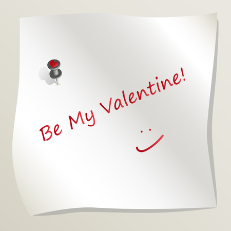 White sticky note attached to a wall by a drawing pin with heart image. Sheet of paper with text Be My Valentine with smile. Concept of love and romance. Happy Valentines Day. Vector EPS 10.