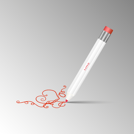 Vector illustration of sharpened detailed wooden white pencil with eraser on top drawing a pattern with red heart on a gray background.