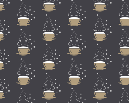 Seamless pattern Vector eps 10 coffee cup with snowflakes and christmas tree steaming silhouette. Happy New Year greetings. Coffee style colors