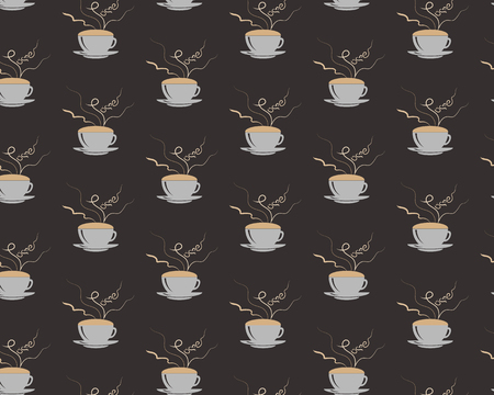 Seamless pattern with coffee cup with steming word love on brown cbackground. Illustration