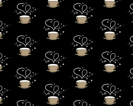 Seamless pattern with coffee mug with steming heart and word love on brown coffee style background. Coffee cup and steam. Happy Valentine's day. EPS 10 Vector illustration