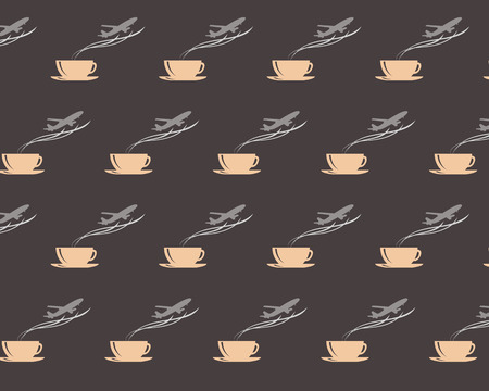 Seamless pattern with steaming coffee mug and airplane on dark brown background. Drink and travel symbols.