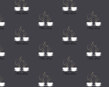 Seamless pattern with steaming silhouettes of male and female in love over coffee cup on dark brown coffee style background.
