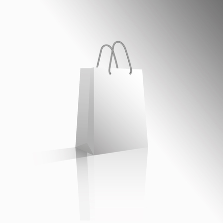 Vector 3D icon empty realistic white paper package or bag for shopping gifts. Sale for Valentine's Day or any other holiday