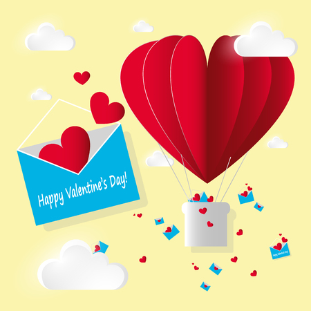 Vector paper stile card Valentines day. Open blue envelope with flying red hearts letters and air hot balloon on yellow background.