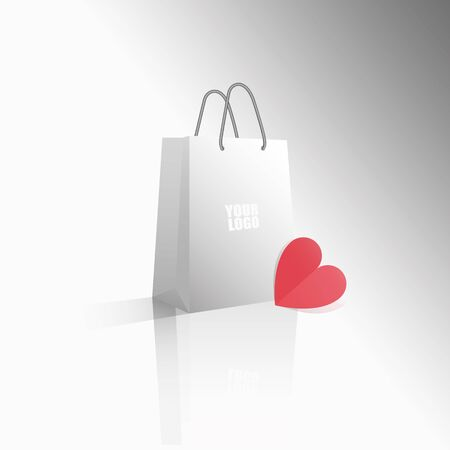 Vector 3D icon empty realistic white paper package or bag with your logo red heart for shopping or gifts. Sale for Valentines Day or any other holiday