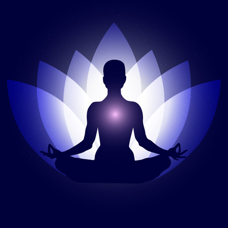 Human body in yoga lotus asana. Backgroung neon blue lotus petals dark blue space stars. Çizim