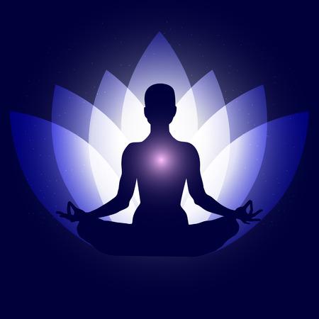 Human body in yoga lotus asana. Backgroung neon blue lotus petals dark blue space stars. Illustration