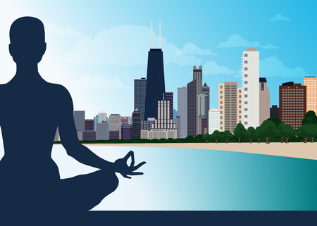 Young female in yoga lotus asana. urban background city skyscrapers, blue sky, water. Concept of unification of Eastern and Western traditions. Healthy lifestyle, internal balance, spirituality. 일러스트