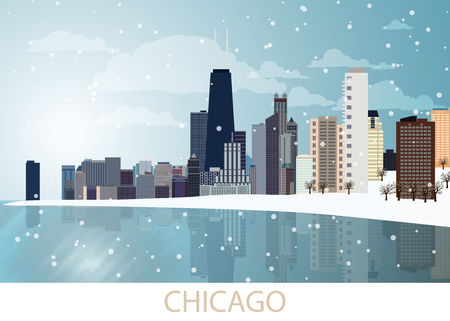 Snowing Winter Panorama of Chicago city with skyscrapers, frozen lake Michigan, Willis Tower, trees, snowflakes and blue sky and sunny day. Landscape, view, snow, travel, USA. Vector illustration EPS10