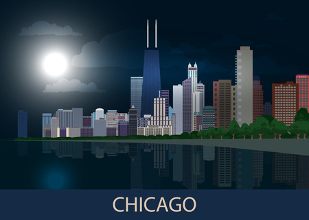 Night panorama Chicago city downtown with skyscrapers, lake Michigan, green trees and full moon in dark blue sky. Cityscape, view, town. Vector illustration EPS10