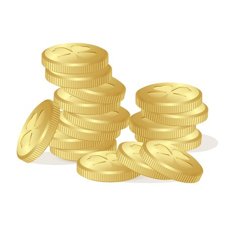 Stack of fairy golden coins with leaves of clovers on white background. St. Patricks day, Money, gold, Saint, Patrick, holiday, good, luck, business banking treasure. Illustration