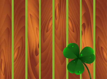 Spring plant three-leafed clover with dew or water drops on wooden brown garden fence background. St. Patricks day, Saint, Patrick, holiday, nature, good luck, flower, leaf, texture. Vector eps10.