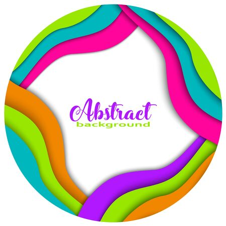 Round rainbow 3D abstract paper cut shapes on white background. Trendy colors, wave, rainbow, frame, paper, cut, ring, circle vector illustration. Illustration