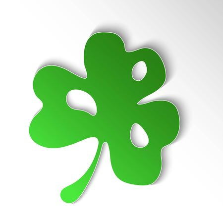Abstract Paper cut slyle fhree-leafed clover on white background. St. Patrick's day,, Saint, Patrick, holiday, nature, good luck, flower, leaf, eco ecology fresh object Vector EPS10