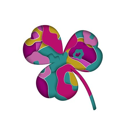Abstract paper cut style three-leafed clover on white background. St. Patricks day layers, holiday, nature, good luck, design, leaf, ecology fresh object vector illustration.