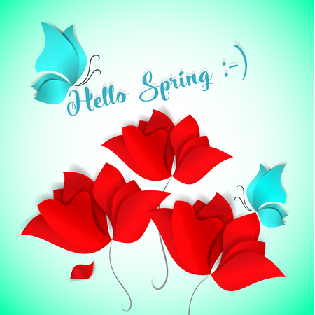 Hello Spring Paper-cut style card vector illustration