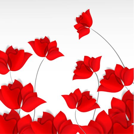Bright paper-cut style red flowers field on white background. 3D vector, card, happy, spring, summer, love, flora, design, mother day, Valentines, wedding, wallpaper, roses, poppies, tulips