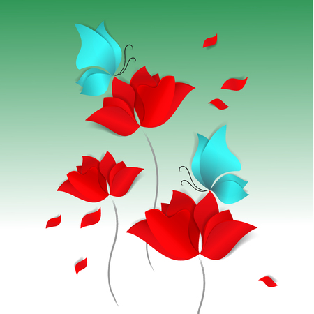 Spring paper-cut style card on green background. Red flowers, blue butterflies 3D vector, day, happy, love, flora;, design, wallpaper, pattern, tulip, rose, poppy, background, bright, bouquet, field.