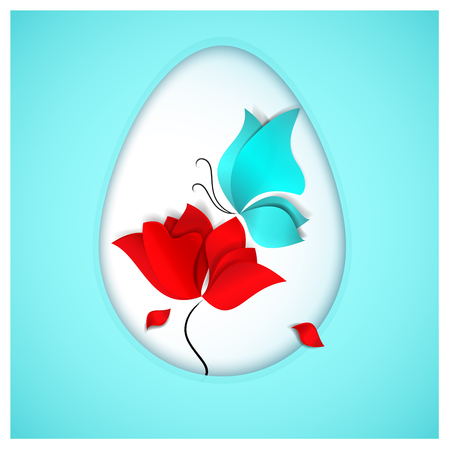 A bright red flower with falling petals resembling drops of Christs blood and the sky-blue butterfly and Easter egg symbolize a rebirth and a new life on heavenly background. Illustration