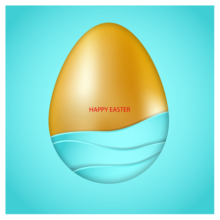Golden Easter egg with blue waves on blue background. Red congratulatory text Happy Easter. 3d vector card. Minimalist design. It combines simols of water, ocean, sea, purity, life and Christianity Illustration