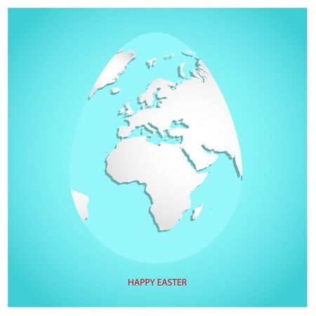 Easter egg with white world map. Planet Earth in form of egg on sky blue background with greeting text Happy Easter.