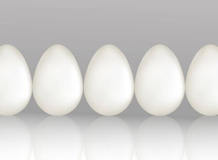 A row of five white chicken eggs on light gray background with reflaction. Natural ecological protein product. Healthy food. Dietary meal. Easter symbol. Realistic 3d Vector illustration.