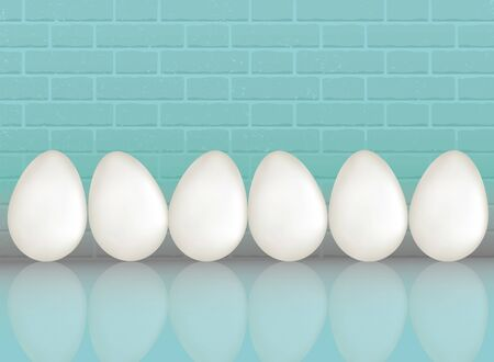 A six white chicken eggs on blue color brick wall background with reflection. Natural ecological protein product. Healthy food. Dietary meal. Easter symbol. Realistic 3d Vector illustration Stok Fotoğraf - 98278307