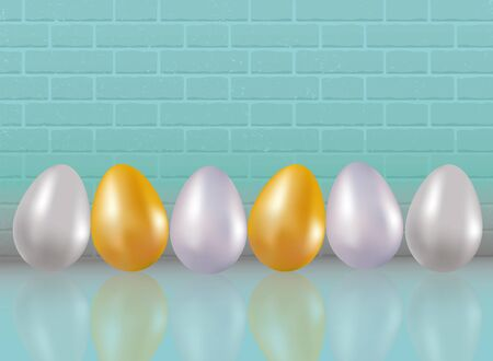 A six painted or dyed in metallic gold, silver and platinum colors chicken eggs on blue color brick wall background with reflaction. Natural ecological protein product. Healthy food. Dietary meal. Easter symbol. Realistic 3d Vector illustration