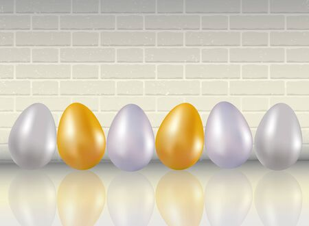 A six shining dyed in metallic gold, silver, platinum colors chicken eggs on white brick wall background with reflection. Çizim