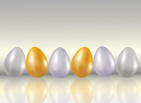 A six shining dyed in metallic gold, silver, platinum colors chicken eggs on light gray background with reflection. Stok Fotoğraf - 98186631