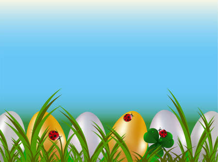 A row of dyed easter eggs in green garden grass with red ladybugs and blue sky.