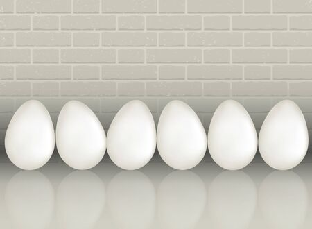 A six white chicken eggs on gray white color brick wall background with reflection. Natural ecological protein product. Realistic 3d vector illustration. Stok Fotoğraf - 98280189