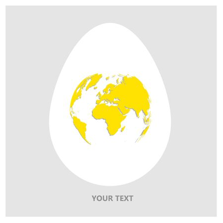 Flat Vector logo white egg with yellow world map. Planet Earth in form of egg yolk on light gray background with copy-space for your text.