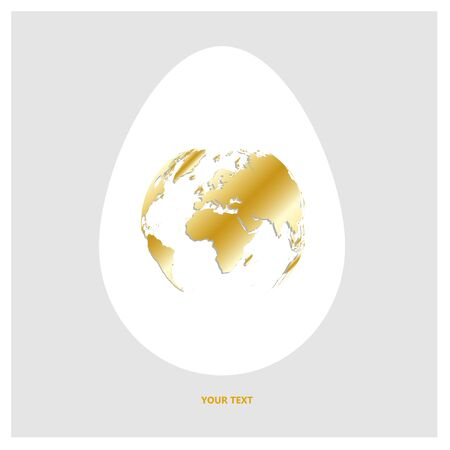 Flat Vector logo white egg with shining golden world map. Planet Earth in form of egg yolk on light gray background with copy-space for your text.