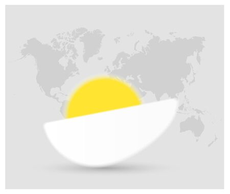 Vector of a half boiled egg with yellow yolk and white protein on light gray background with world map.