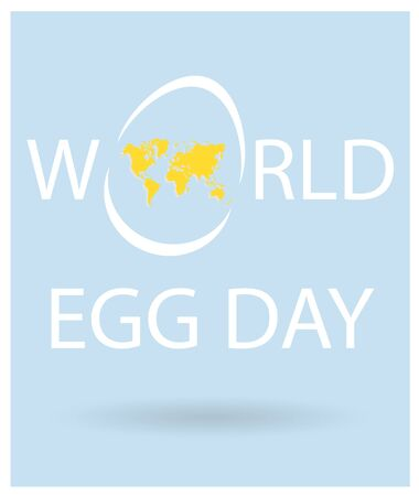 World Egg Day Vector lettering with egg with yellow world map. Text for holiday card, flyer, banner, cover. White letters on sky blue background.