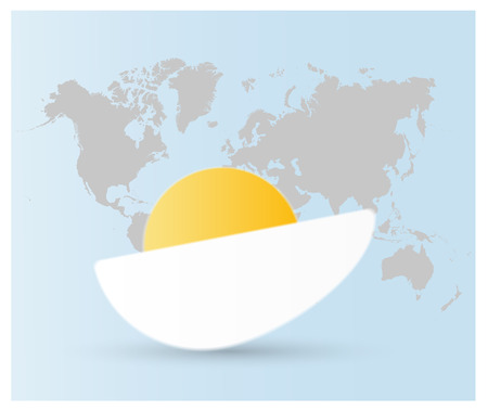 Vector logo a half boiled egg with yellow yolk and whire protein on light gray background with world map. Illustration for World Egg Day, Easter or another holiday.