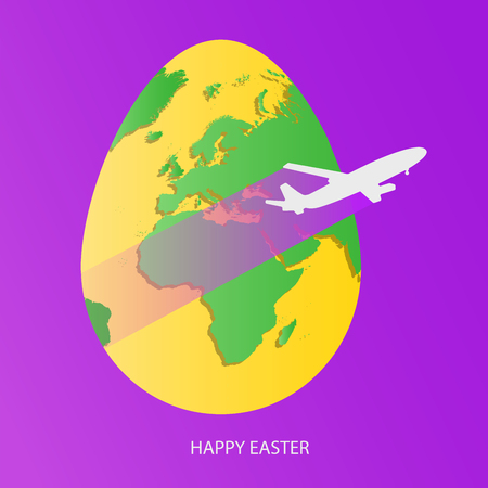 Easter egg with green world map. Yellow Planet Earth in form of egg on bright purple background with flying light gray airplane and greeting text. Vector illustration.